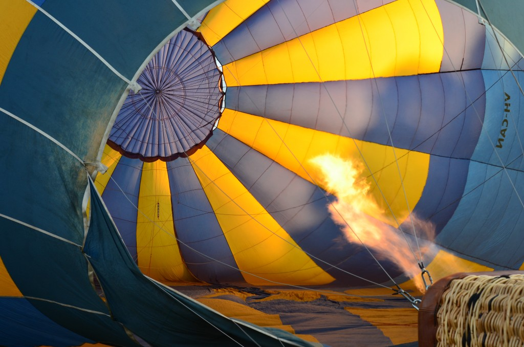 Hot air balloon gets filled