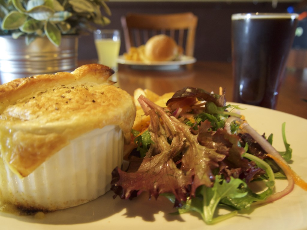 Pot pie with salad.