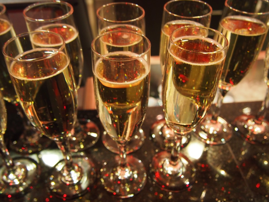 Glasses of champagne.