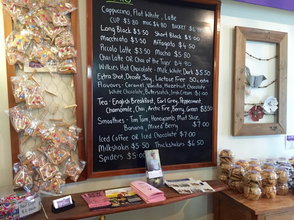 Coffee menu with coffee types and prices