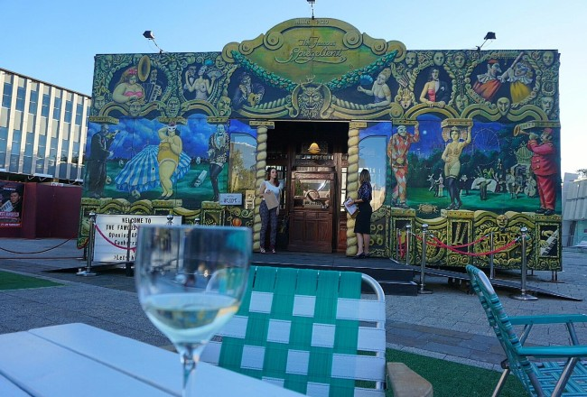 Pre-performance drinks at the Famous Spiegeltent - Civic Square.