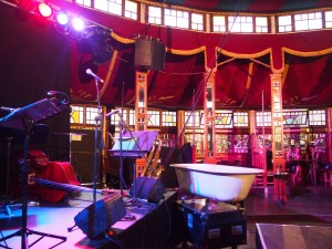 Inside the Famous Spiegeltent - house bands and bathtubs.