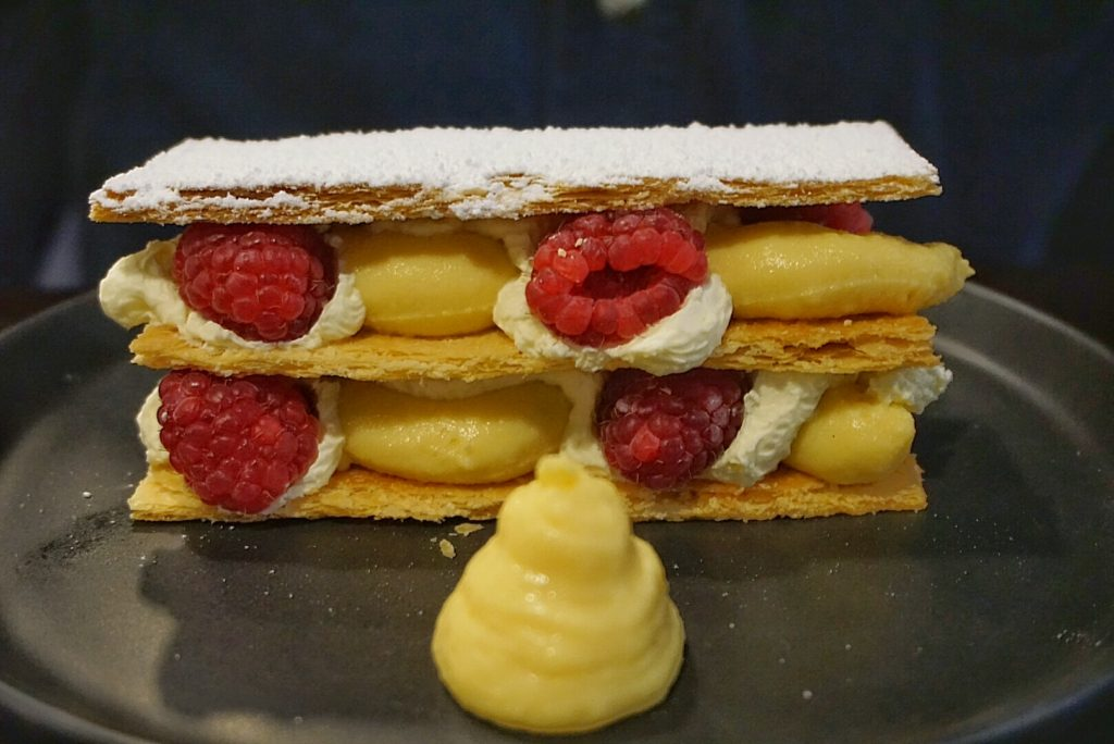 Raspberry Mille Fuille with orange, cardaomon, raspberry, cream Chantilly