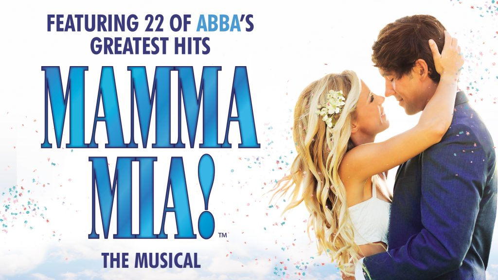 Man and woman holding each other in an embrace. Text: Featuring 22 of ABBA's Greatest Hits MAMMA MIA the musical.