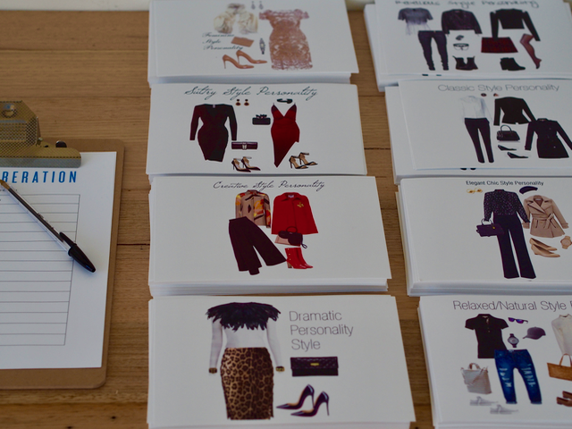 A set of eight cards each have a different range of clothes with a text heading. The titles include 'Dramatic Personality Style', 'Creative Style Personality'.