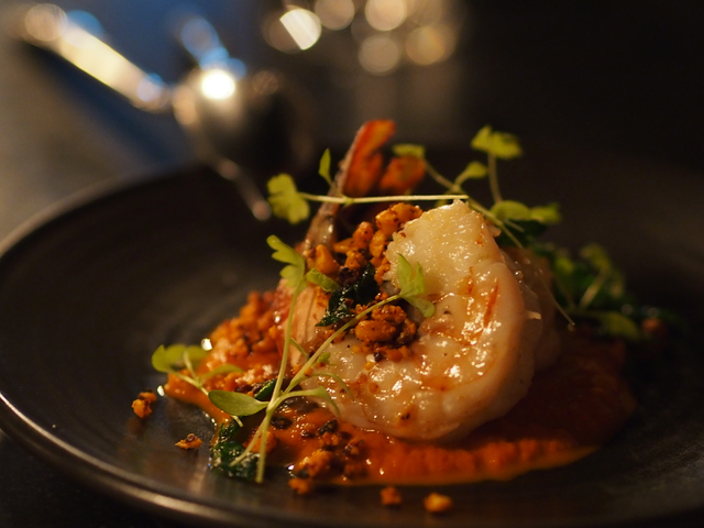 Tiger prawns, saffron eschallot, romesco, almond and parsley
