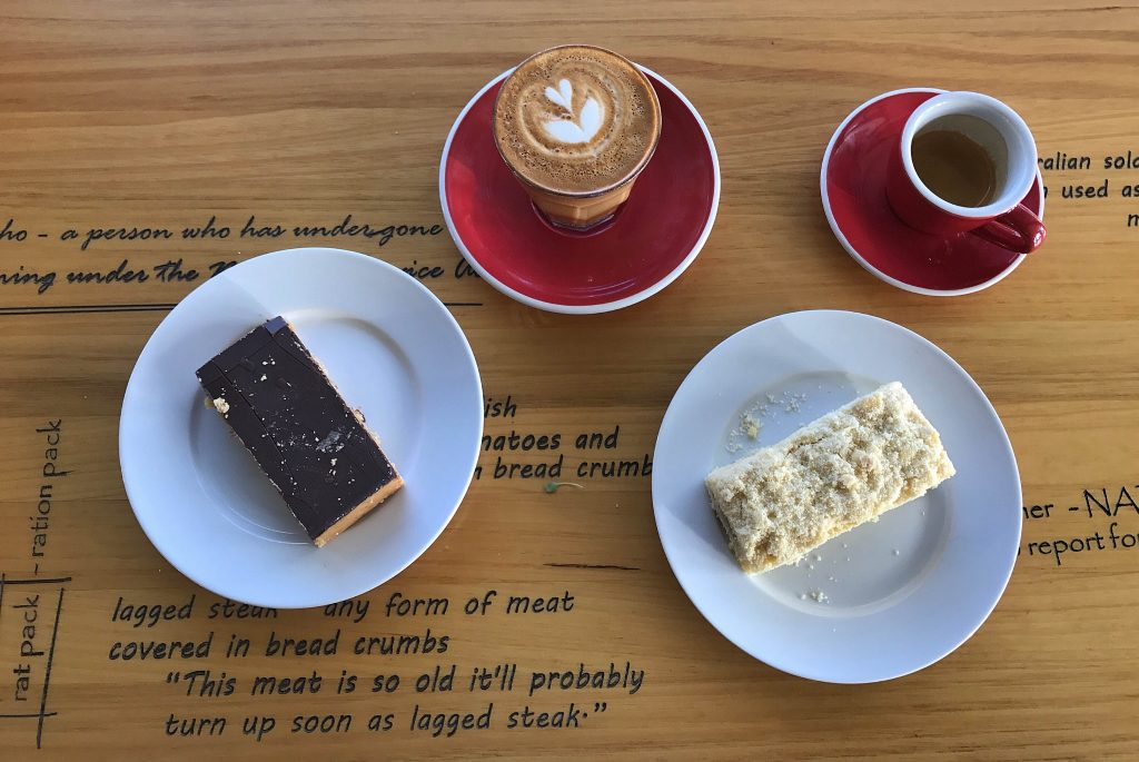 we couldn't resist coffee and a selection from the cake cabinet - a caramel slice and a piece of apple crumble