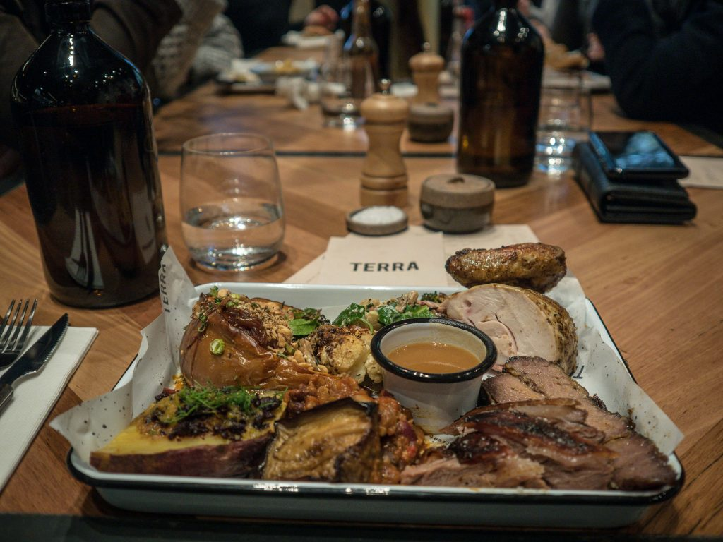 Terra's lunch options include a plate where you choose the protein and sides