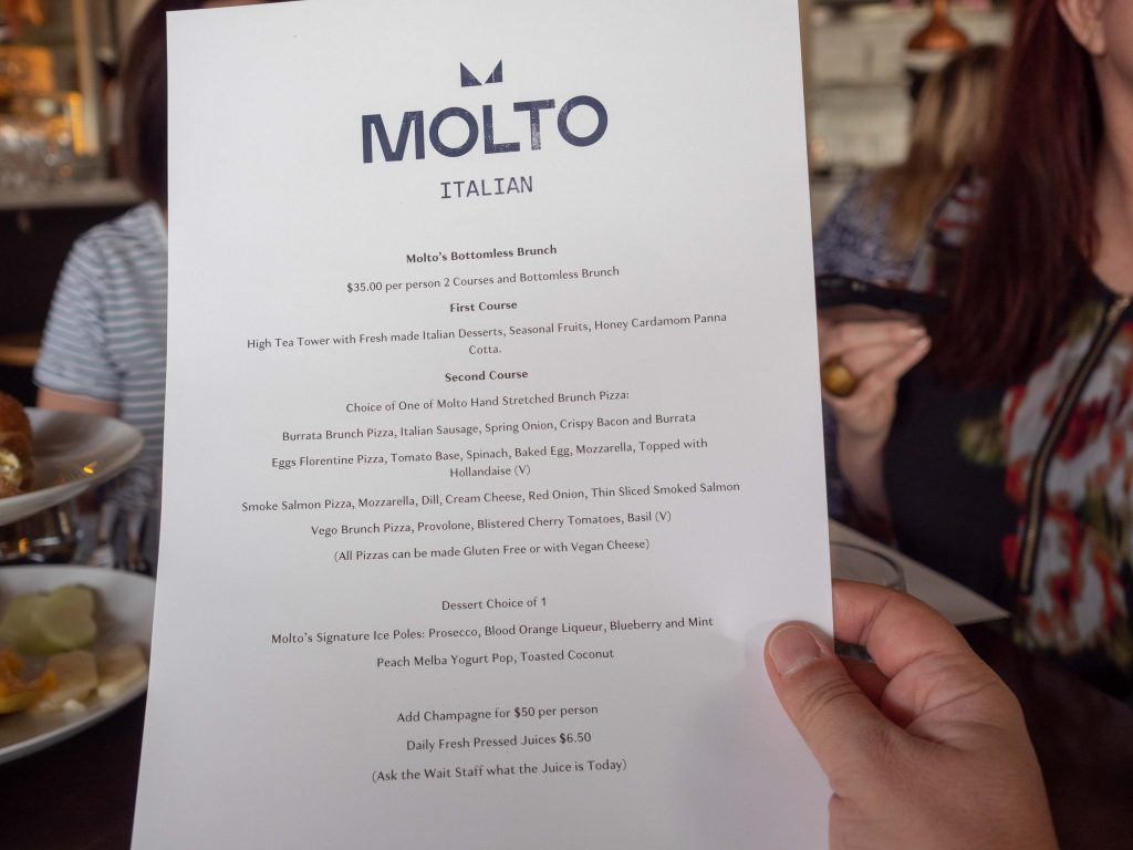Molto's bottomless brunch menu (accurate as of time of publishing)