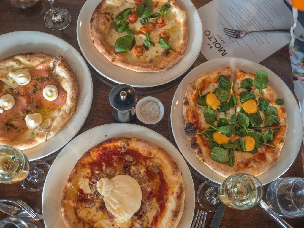 Take your pick from the four hand stretched brunch pizza options