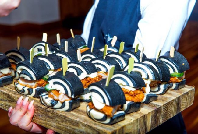 A platter of BAO burgers